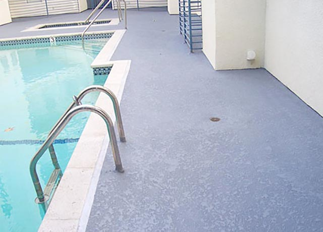 Orange Swimming Pool Deck Staining